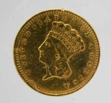 1856 $1 Type 3 Indian Princess Large Head Gold Dollar