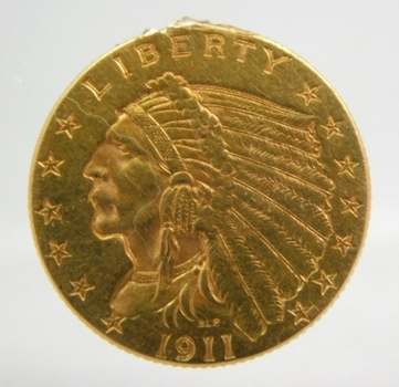 1911 $2 1/2 Indian Quarter Eagle Gold Coin