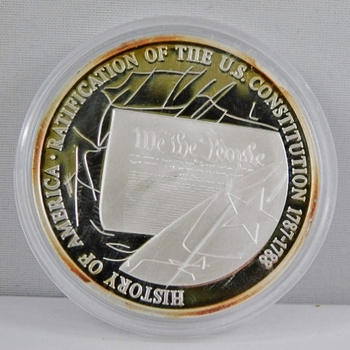 """From the Symbols of Freedom Coin Collection - 1.5"""" Medallion Layered in Fine Silver - Only 9,999 Collections Minted - HISTORY OF AMERICA - RATIFICATION OF THE U.S. CONSTITUTION"""