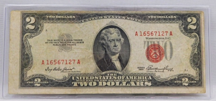 OFF CENTER CUT - 1953 $2 Red Seal U.S. Legal Tender Note