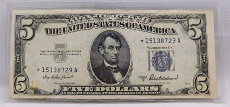 STAR NOTE REPLACEMENT ERROR 1953A $5 Silver Certificate