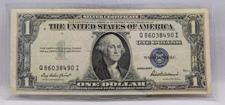 1935F $1 Silver Certificate - Payable to the Bearer in Silver
