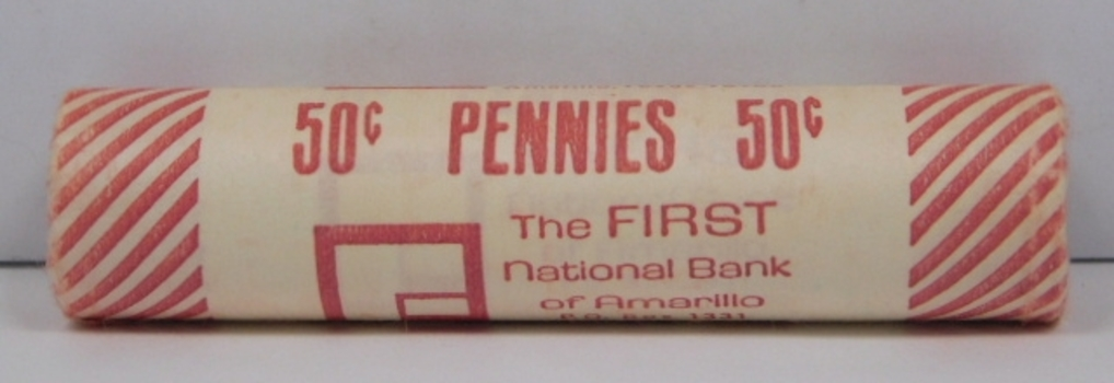 UNOPENED/UNSEARCHED Bank Roll of 1981-D Uncirculated Lincoln Cents - First National Bank of Amarillo Texas
