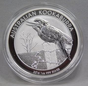2016 $1 Australian Kookaburra 1 oz .999 Fine Silver - Brilliant Uncirculated in Original Mint Capsule