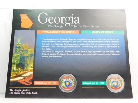 1999 P & D Georgia Colorized Commemorative State Quarters Encased in Beautiful Story Board