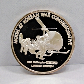 """One Troy Oz .999 Fine Proof Silver - First Air Medevac - Bell Helicopter Textron -  Model 47 Korean War Commemorative - 1.34"""" Medallion"""