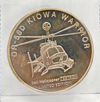 """One Troy Oz .999 Fine Proof Silver - OH-58D Kiowa Warroior - Profiles In Courage - Bell Helicopter Trextron - U.S. Army Armed Aerial Scout - Profiles in Courage - United Kingdom/United States - 1.34"""" Medallion"""