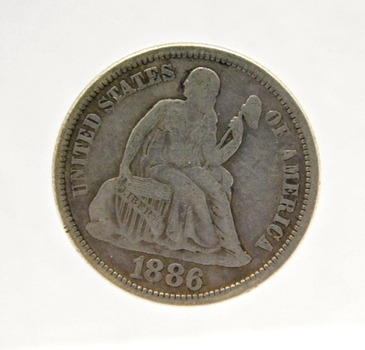 1886 Silver Seated Liberty Dime - Nice Detail