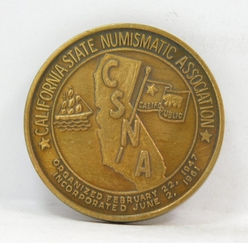 California State Numismatic Association Commemorative Medal/Coin - 1998 San Jose - Gov. Stanford - Bronze