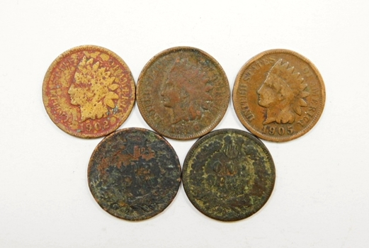 Lot Of Five Indian Head Pennies 1890 1896 1902 1905 1907