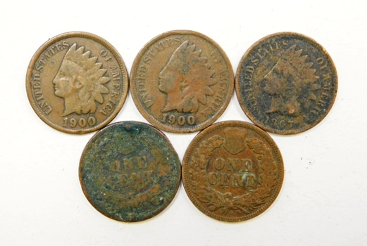 Lot Of Five Indian Head Pennies 1900 1900 1903 1905 1907