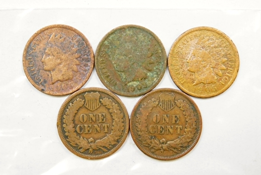 Lot Of Five Indian Head Pennies 1900 1903 1905 1906 1908