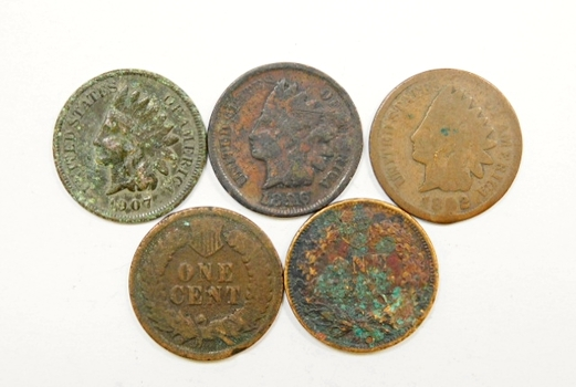 Lot Of Five Indian Head Pennies 1896 1902 1903 1906 1907