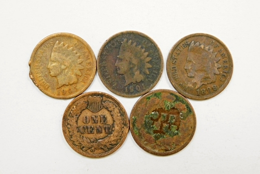 Lot Of Five Indian Head Pennies 1895 1898 1901 1905 1906