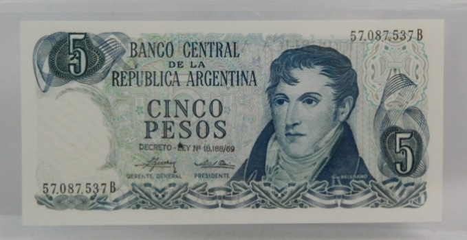 1971 Argentina Five Peso Crisp And Uncirculated Banknote
