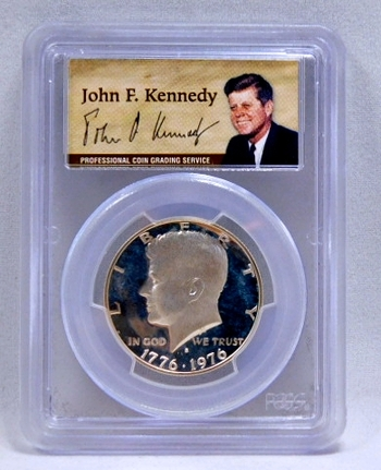 1976-S Silver Proof Bicentennial Kennedy Half Dollar - SIGNATURE BY JOHN F. KENNEDY - Graded PR69 DCAM by PCGS - 50th Anniversary