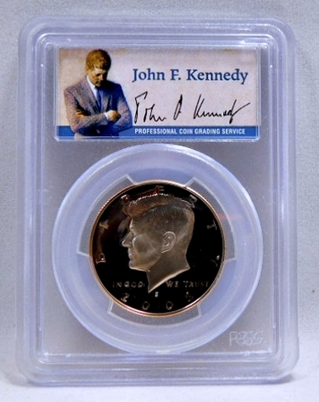 2005-S Proof Kennedy Half Dollar - SIGNATURE BY JOHN F. KENNEDY - Graded PR69 DCAM by PCGS