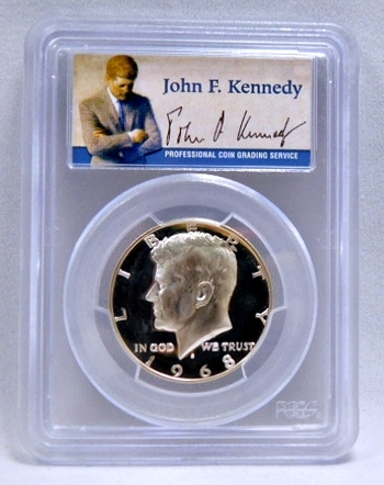 1968-S Silver Proof Kennedy Half Dollar - SIGNATURE BY JOHN F. KENNEDY - Graded PR68 DCAM by PCGS
