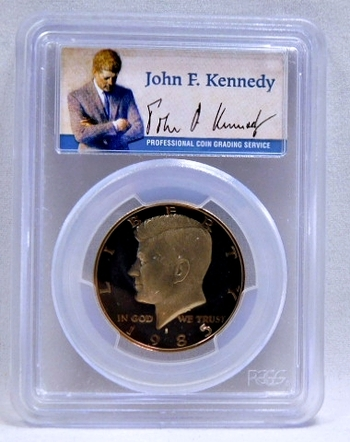 1985-S Proof Kennedy Half Dollar - SIGNATURE BY JOHN F. KENNEDY - Graded PR69 DCAM by PCGS