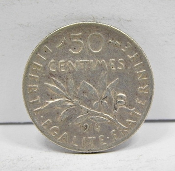 1916 France Silver 50 Centimes