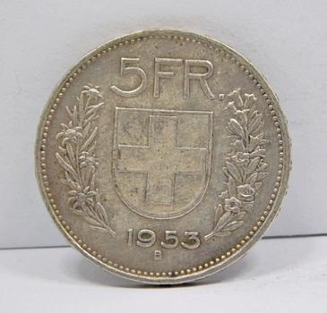 1953B Switzerland Silver 5 Francs