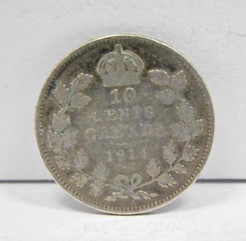 1914 Canada Silver 10 Cents