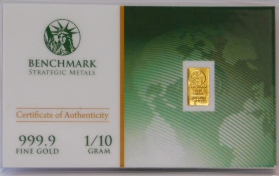 1/10 Gram 999.9 Fine Gold Bar - Benchmark Precious Metals w/ Certificate of Authenticity