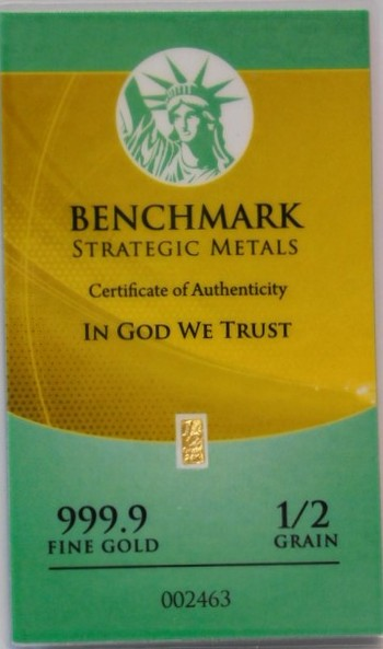 1/2 Grain 999.9 Fine Gold Bar - Benchmark Precious Metals w/ Certificate of Authenticity