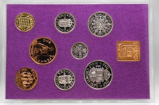 1970 Coinage of Great Britain and Northern Ireland - 8 Coin Uncirculated Set in Display Case