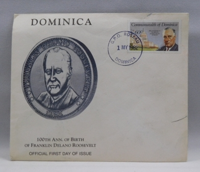 1982 100th Anniversary of Birth of Franklin Delano Roosevelt - Official First Day of Issue Cover and Stamp from Dominica