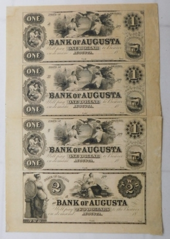 UNCUT & UNISSUED SHEET of 1800's $1 and $2 State of Georgia - Bank of Augusta - Obsolete Bank Notes