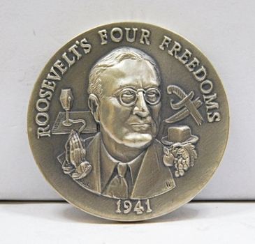 "1.1oz. Silver Medallion Commemorating 1941; The Year Franklin D. Roosevelt Spoke the Wish for 4 Freedom's - 1.5"" in Diameter"