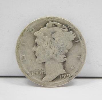 Scarce Date - 1919-S Silver Mercury Head Dime