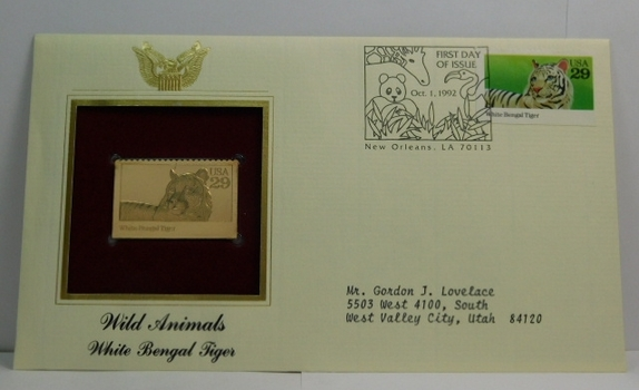 Lot of Two (2) 22K Gold Proof Replica Stamp - Wild Animals/White Bengal Tiger & Juan Rodriguez Cabrillo/Explorer of California - Golden Replicas of United States Stamps - FDC