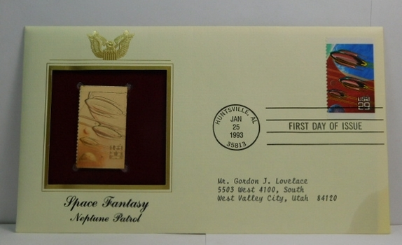 Lot of Two (2) 22K Gold Proof Replica Stamps - Space Fantasy - Neptune Patrol & Explorers in Flight - Golden Replicas of United States Stamps - FDC