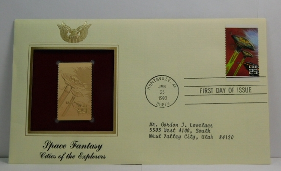 Lot of two (2) 22K Gold Proof Replica Stamps - Space Fantasy - Cities of the Explorers & Saturn Patrol - Golden Replicas of United States Stamps - FDC