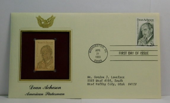 Lot of Two (2) 22K Gold Proof Replica Stamp - Dean Acheson/American Statesman & Circus/Ring Master- Golden Replicas of United States Stamps - FDC