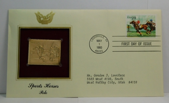 Lot of Two (2) 22K Gold Proof Replica Stamps - Sports Horses - Polo & Thoroughbred - Golden Replicas of United States Stamps - FDC