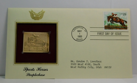 Lot of Two (2) 22K Gold Proof Replica Stamp - Sports Horses/Steeplechase & Antarctic Explorers/Richard E. Byrd - Golden Replicas of United States Stamps - FDC