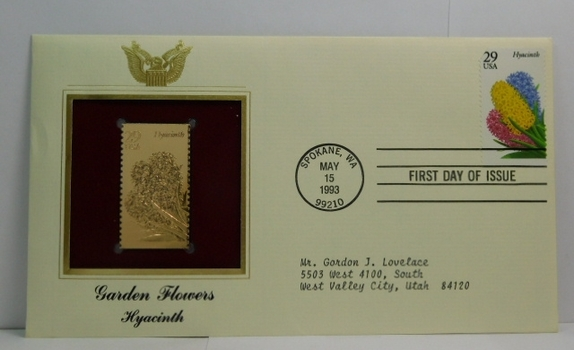 Lot of Two (2) 22K Gold Proof Replica Stamps - Garden Flowers - Hyacinth & Lilac - Golden Replicas of United States Stamps - FDC