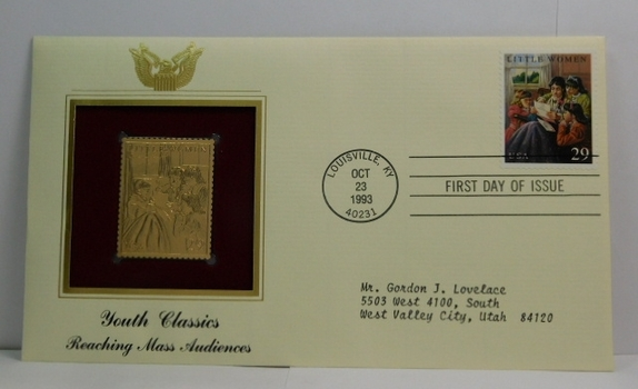 Lot of Two (2) 22K Gold Proof Replica Stamps - Youth Classics - Reaching Mass Audiences & Learning About the Past - Golden Replicas of United States Stamps - FDC