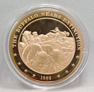 1882 The Buffalo Nears Extinction Franklin Mint Bronze Proof Commemorative Medal