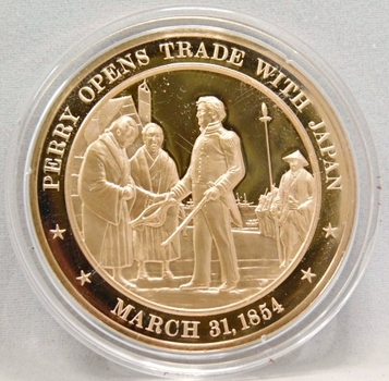 1854 Perry Opens Trade With Japan Franklin Mint Bronze Proof Commemorative Medal