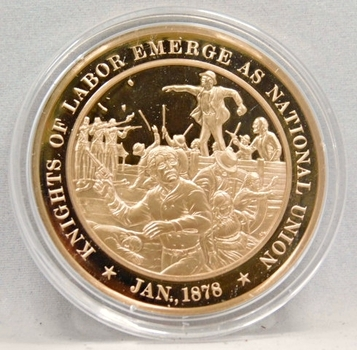 1878 Knights Of Labor Emerge As National Union  Franklin Mint Bronze Proof Commemorative Medal
