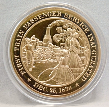 1830 First Train Passenger Service Inaugurated Franklin Mint Bronze Proof Commemorative Medal