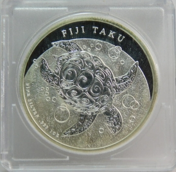 2010 $2 Fiji Taku Turtle 1 oz .999 Fine Silver