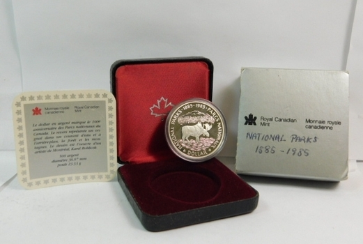 1985 Proof Canada Silver Dollar - Commemorating the 100th Anniversary of the National Parks of Canada - Moose - 23.33 g.  0.500 Silver  0.375 oz. ASW - In Original Royal Canadian Mint Packaging