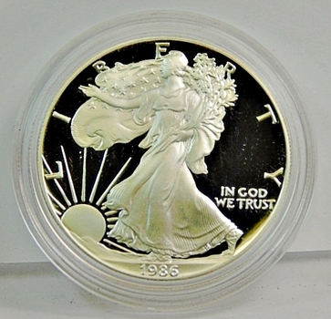 1986-S Proof American Silver Eagle - One Ounce .999 Fine Silver - In Original Mint Capsule