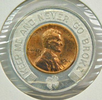 1961-D Encased Lincoln Memorial Cent - Reading Trust - 75 Years of Banking
