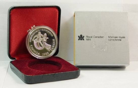 1983 Proof Canada Edmonton University Commemorative Silver Dollar - Athlete within Game Logo - 23.33 g. 0.500 Silver - In Original Mint Packaging